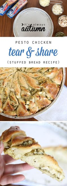Pesto chicken tear & share is an easy stuffed bread recipe that's so delicious! Perfect as an appetizer or main dish. It's fast because it starts with refrigerated dough! #itsalwaysautumn #appetizerrecipe #pestochicken