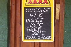 Sign outside the Birdsville Pub in far western Queensland.