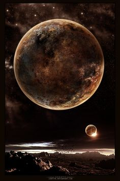 Rebirth by IonFive on DeviantArt Beautiful Moon Images, Beautiful Scenery, Beautiful Places, Cosmos, The Magic Faraway Tree, Sunset Sky, Sunrise, Stars And Moon, Black And Brown