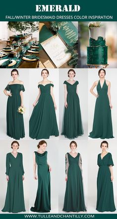 Emerald fall wedding color ideas with bridesmaid dresses 2019 #wedding #weddinginspiration #bridesmaids #bridesmaiddress #bridalparty #maidofhonor #weddingideas #weddingcolors #tulleandchantilly