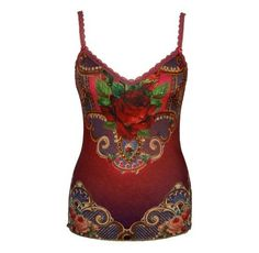 Michal Negrin Gradient Bordeaux Purple Camisole Enriched with Victorian Style Floral Motif, Scalloped Edge Lace Trim and Swarovski Crystal Accents; Handmade in Israel - Size M Michal Negrin,http://www.amazon.com/dp/B008EX5BEA/ref=cm_sw_r_pi_dp_LZYOrb33DD384C93
