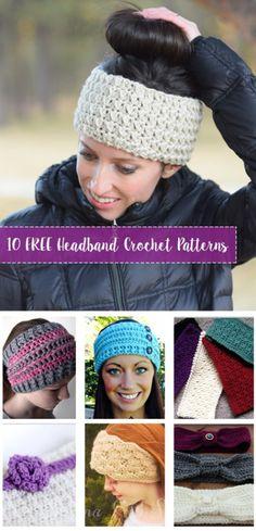 How to Make a Crochet Hat 10 FREE Crochet Headband Patterns. Compilation of Free crochet headband and ear warmer patterns. Create the crochet headbands for you or friends. Bandeau Crochet, Crochet Headband Free, Crochet Beanie, Free Crochet, Knit Crochet, Double Crochet, Crochet Hair, Crotchet, Easy Crochet