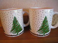 Pair of Waechtersbach Coffee Mugs Christmas Ceramic Holiday Tree Spain | eBay