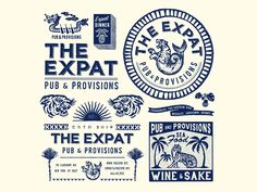 The Expat, NY vintage typography packaging packagedesign oriental logo lettering illustration illust graphicdesign graphic direction design branding artwork art Vintage Typography, Graphic Design Typography, Japanese Typography, Vintage Graphic, Typography Poster, Vintage Packaging, Packaging Design, Vintage Branding, Identity Design