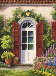 barbara r felisky Cottage Art, Garden Painting, Painted Doors, Acrylic Painting Canvas, Pictures To Paint, Windows And Doors, Painting Inspiration, Home Art, Watercolor Paintings