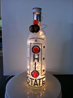 Ohio State Buckeye Wine Bottle with Lights by TheSecretLady