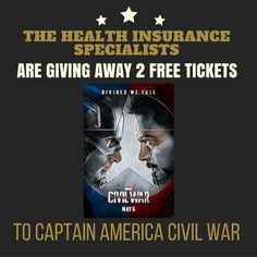 The Health Insurance Specialists are giving away free tickets to go see Captain America Civil War.  The contest is easy to enter.