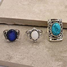 Baru vintage aksesoris perhiasan, Perak berlapis pirus jari opal cincin ditetapkan untuk perempuan gadis hadiah bagus R1518