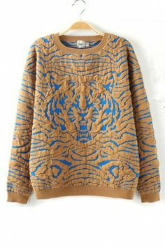 Weekend Wear! Tiger Print Sweater #tiger #sweater  #fashion