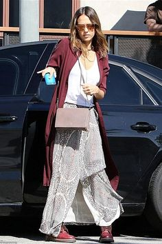 Jessica Alba wearing Dr Martens 50th Year Anniversary Vintage 1460 Boots in Cherry Red, Related Louisa Shirt Dress, Ullu Hand Painted Leather Iphone Snap-on Case in Turqish Delight and Isabel Marant Sesley Printed Silk-Chiffon Wrap Maxi Skirt