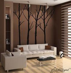 HUGE fan of tree stencils on walls. Love the lights shining on the trees.