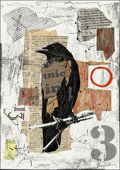 buy art on ebay The Raven Collage – Mixed Media Collage