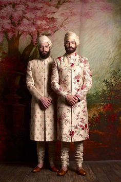 Find your wedding outfit from Sabyasachi Mukherjee SS 2016 indian bridal collection! From traditional lehengas to floral modern bridal options Wedding Dresses Men Indian, Wedding Outfits For Groom, Wedding Dress Men, Indian Weddings, Wedding Wear, Wedding Groom, Farm Wedding, Wedding Couples, Boho Wedding
