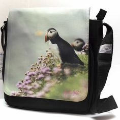 Green sea puffin messenger shoulder bag. Perfect gift for lover of wildlife, nature, outdoors or coastal treasures. These pretty little puffins reside on the Saltee Islands, off the south east coast of Ireland. They can also be found populating most of the islands of Ireland, particularly Skellig Michael (long before the Jedis showed up). Vintage Pearls, Vintage Flowers, Blue Superhero, Wolf Hoodie, Geometric Wolf, Jute Tote Bags, Baby Ballerina, Christmas Aprons, Irish Design