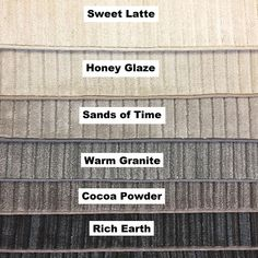 Product Description This carpet is made in the USA by Beaulieu. The Style is called Mulberry and the main picture color is Sweet Latte. We also have it listed in with other color options: Honey Glaze, Sands of Time, Warm Granite, Cocoa Powder, and Rich Earth! We start with this