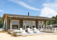 Kontio Hiekkaranta has a fresh and appealing design with large airy windows, making it suitable for various environments and uses. Barn House Plans, New House Plans, Cheap Pergola, Diy Pergola, Pergola Ideas, Cabin Homes, Log Homes, Patio Roof Covers, Beach Properties