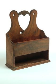 Hanging Wall Box  American 19th Century Pine Shaped Crest with Heart Cutout!  Worn original brown and mustard grain painting.