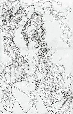 Poison Ivy (McTeigue), in Nicki Andrews's Inking work Comic Art Gallery Room Coloring Book Pages, Colorful Pictures, Line Art, Comic Art, Comic Books, Fantasy Art, Art Drawings, Artwork, Watercolor Mermaid