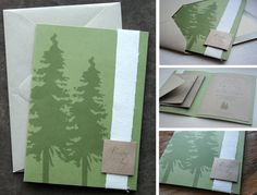 Rustic, pine tree themed wedding invitations. Find more about them here: http://onceuponacanvas.wordpress.com/design/wedding-invitations/