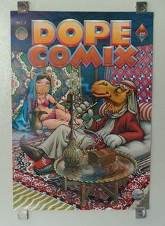 Original 1978 DOPE COMIX Kitchen Sink comics poster 2: Marijuana/Cannabis/1970's funny camel and sexy belly dancer girl weed pin-up poster! 420