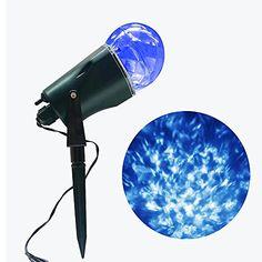 Lámpara de proyección de llama Lámpara de proyección LED Magical Stage Luz de llama giratoria Proyector impermeable del caleidoscopio Para el jardín, Piscina, Navidad Decoración de Halloween (Blanco-Azul)