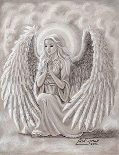Colored pencil, pastel, and Sharpie paint pens, on grey Canson Mi-Teintes pastel paper. Angel Sketch, Angel Drawing, Angel Tattoo Drawings, Angel Images, Angel Pictures, Teintes Pastel, Angel Artwork, Fairy Coloring Pages, Angel Prayers