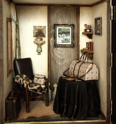 The Room with BR traveling bags -suitcase-handmade Dollhouse Miniatures  AMAZING!