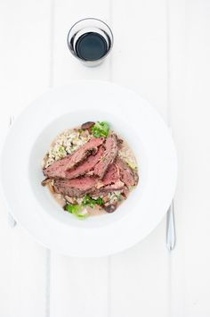Pan-fried rib eye with risotto, Brussels sprouts and shiitake