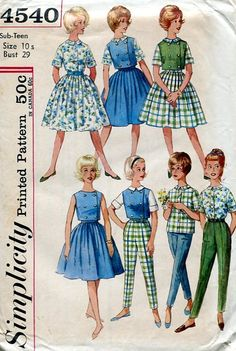 Sewing Patterns Vintage Out of Print Retro,Over 7000 ,Vogue Simplicity McCall's - Simplicity 4540 Retro 1960's Teens Gidget Wardrobe 10