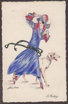 Xavier Sager vintage French postcard, 'Le Fooling'