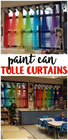 Pouring Paint Can Tulle Curtains- cute art classroom window decorations. School room decor. Colorful rainbow colors. Tutorial