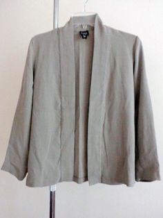 Eileen Fisher jacket lagenlook top art to wear gray upscale designer artsy sz PS #EileenFisher #BasicJacket