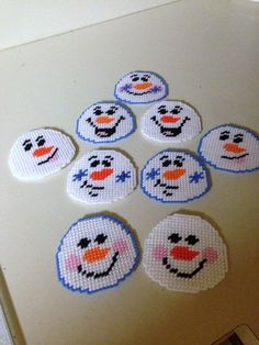 Snowball Magnets in Plastic canvas on Etsy, $2.00