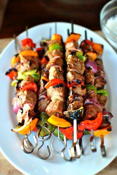 Yummy looking - Grilled Marinated Steak Kebabs. Used this marinade for the kebabs I made on the Used it for chicken and steak everyone loved it. Next time I will be sure to use low sodium soy sauce and less olive oil but otherwise it was wonderful. Grilling Recipes, Beef Recipes, Cooking Recipes, Healthy Recipes, Kabob Recipes, Vegetarian Grilling, Healthy Grilling, Barbecue Recipes, Barbecue Sauce