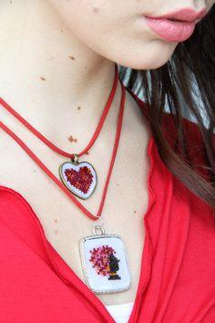 Cross Stitch, Pendant Necklace, Jewelry, Fashion, Moda, Punto De Cruz, Jewlery, Jewerly, Fashion Styles