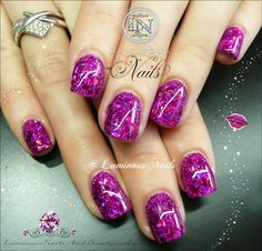 Luminous Nails: Cute Short GlitterGasm Shimmery Fuchsia Nails...