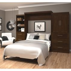 """Pur by Bestar 126"""" Wall bed kit with six drawers & two-door set"""