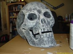 This project turns a big giant store bought skull into this cool one.
