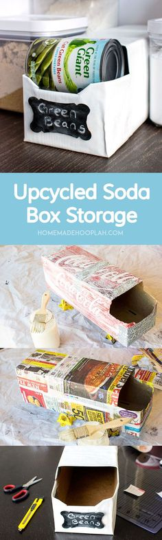 Upcycled Soda Box Storage! Reuse your empty soda boxes to create trendy can storage for your pantry! | HomemadeHooplah.com