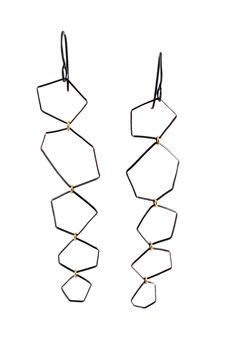 cascading geometric earrings with 18k gold jump rings.