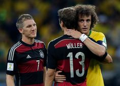 The Loss of Brazil's Soccer-Playing Soul - NYTimes.com German players Bastian Schweistelger, left, and Thomas Muller consoled Brazil's David Luiz after the 7-1 match 07-08-2014.