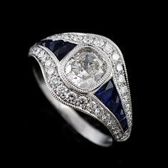 French Cut Sapphire Channel Set And Diamond Platinum Engagement Ring Mounting