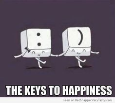 The Keys To Happiness. Two keyboard keys, a colon and a parenthesis, dance while holding hands.