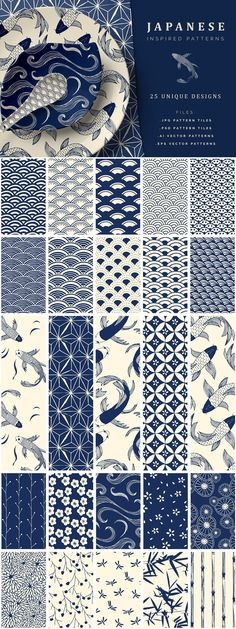 A beautiful collection of 25 Japanese Seamless Vector Patterns. They are all hand drawn patterns, inspired by the philosophy of Wabi - Sabi design embracing the Japanese Textiles, Japanese Patterns, Japanese Fabric, Japanese Prints, Textile Prints, Textile Patterns, Print Patterns, Vector Pattern, Pattern Art