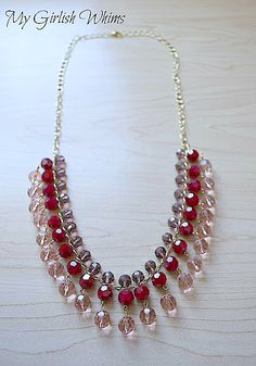 drop necklace tutorial - beads, headpins, chain.  #Beading #Jewelry #Tutorials