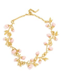 Twisting vines with pink rosettes are fairytale precious in this vintage-inspired necklace.