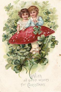 Children, Mushroom and shamrocks  Lovely Tuck Christmas Greetings Postcard