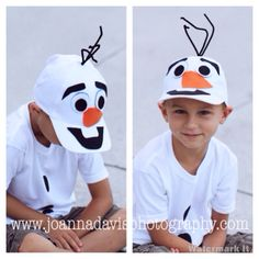 DIY Olaf costume - hat, felt, and hot glue! Might be good for me when Halloween falls on a school day. Olaf Halloween Costume, Frozen Halloween, Holidays Halloween, Halloween Fun, Olaf Frozen, Olaf Hat, Olaf Snowman, Boy Costumes, Disney Costumes For Boys