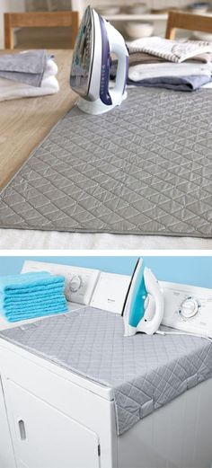 Because I hate dragging out the ironing board - Magnetic Ironing Mat, turns your washer/dryer into an ironing board, then folds up after. Space saving item! #product_design