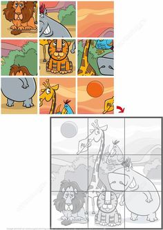 Jigsaw Puzzle with Cute Safari Animals Preschool Puzzles, Homeschool Preschool Curriculum, Printable Preschool Worksheets, Free Preschool, Worksheets For Kids, Toddler Learning Activities, Kindergarten Activities, Book Activities, Kids Learning